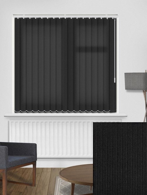 Candy Stripe Onyx 89mm Vertical Blind Replacement Slats