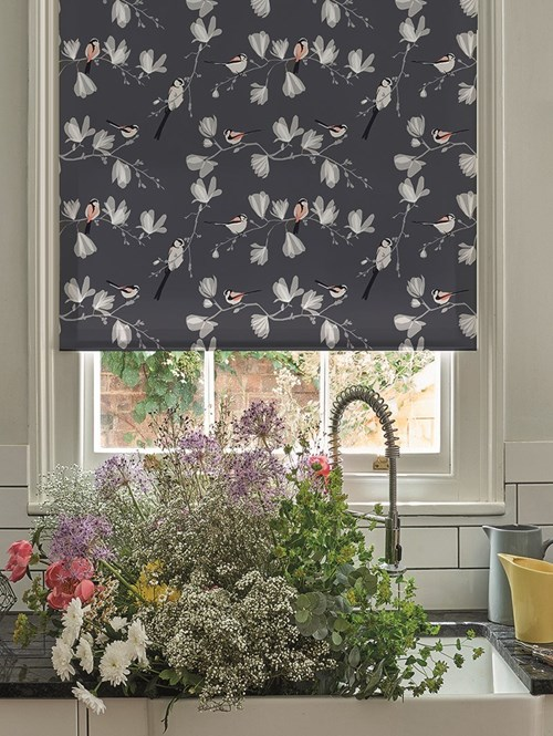Long Tailed Tit Electric Roller Blind by Lorna Syson