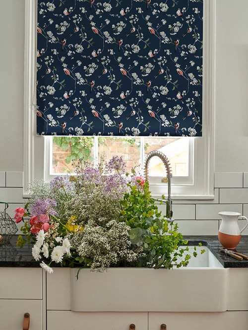 Blossom & Bird Navy Roller Blind by Lorna Syson