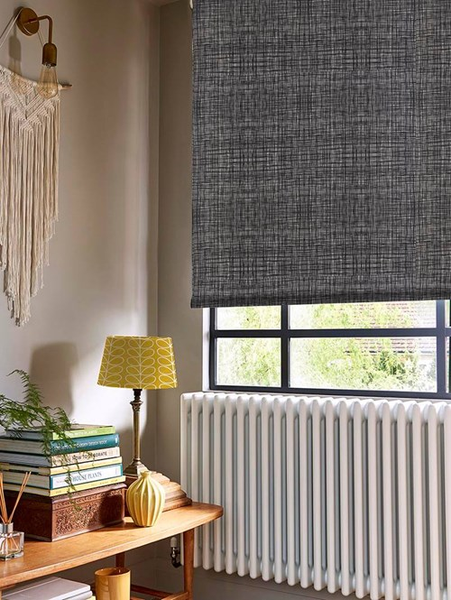Orla Kiely Scribble Gunmetal Electric Roller Blind