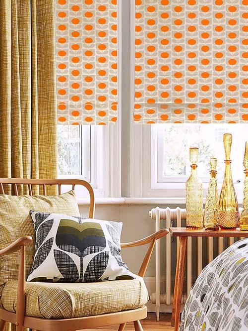 Orla Kiely Ditsy Cyclamen Orange Electric Roman Blind