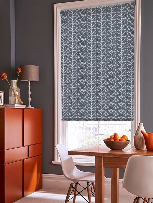 Orla Kiely Linear Stem Cool Grey Electric Roller Blind