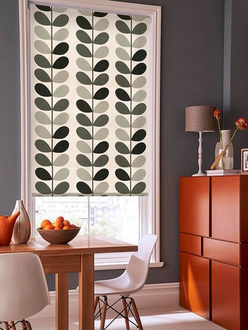 Orla Kiely Multi Stem Warm Grey Electric Roller Blind