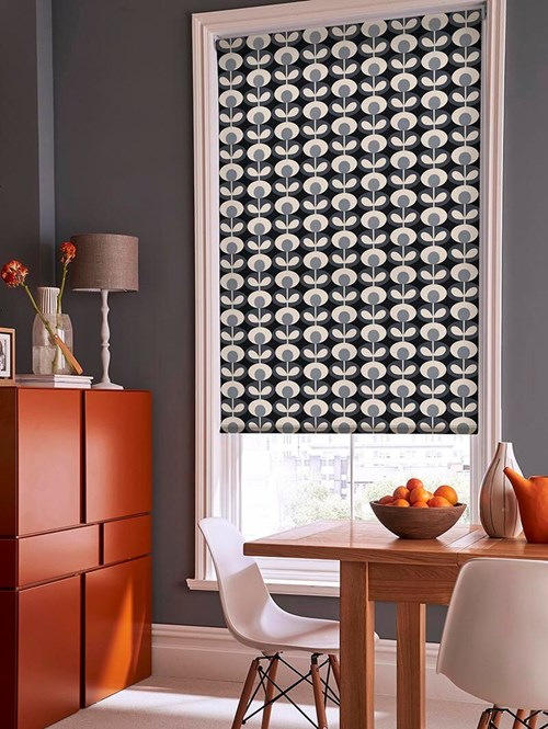 Orla Kiely Oval Flower Cool Grey Electric Roller Blind