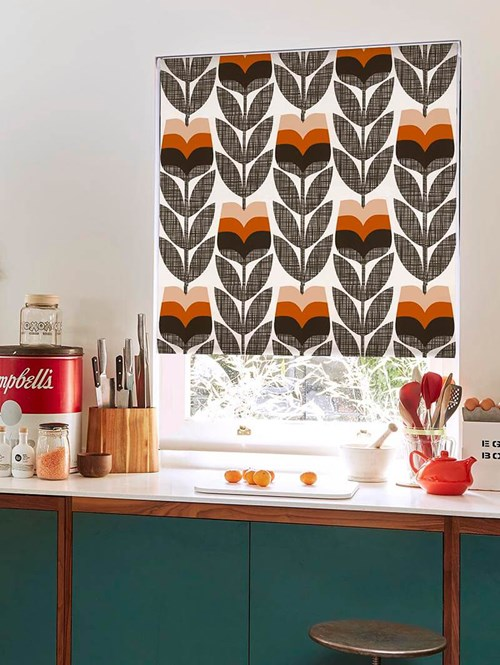Orla Kiely Rosebud Orange Electric Roller Blind
