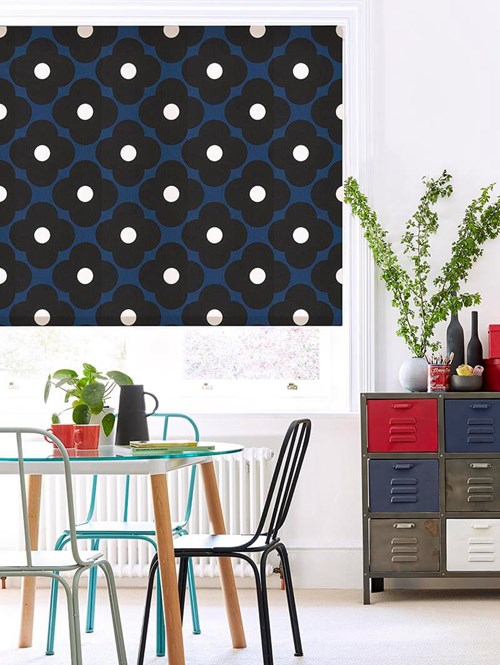 Orla Kiely Spot Flower Dark Marine Electric Roller Blind