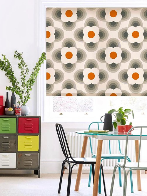 Orla Kiely Striped Petal Orange Electric Roller Blind