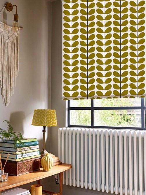 Orla Kiely Two Colour Stem Olive Electric Roller Blind