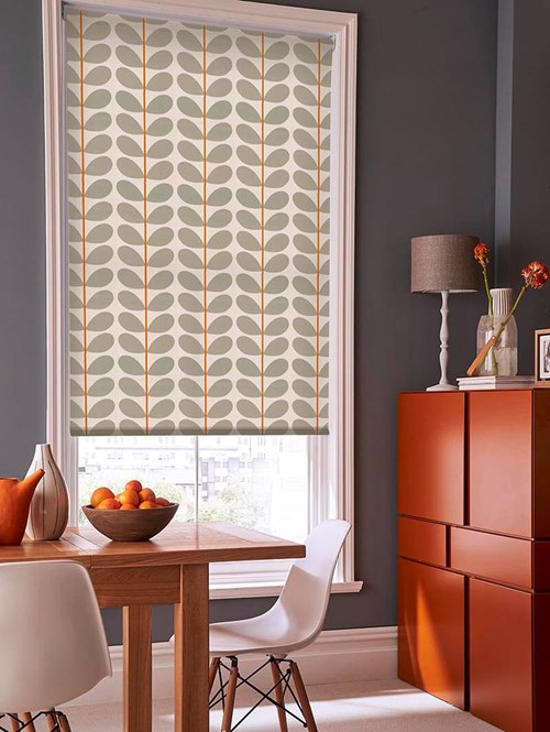 Orla Kiely Two Colour Stem Warm Grey Electric Roller Blind