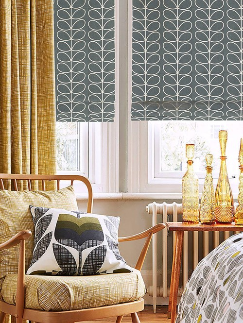 Orla Kiely Linear Stem Cool Grey Electric Roman Blind