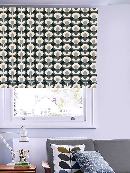 Orla Kiely Oval Flower Cool Grey Electric Roman Blind