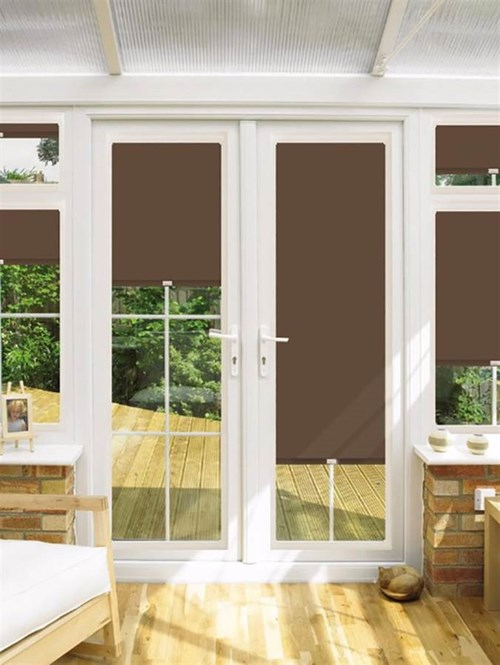 Blackout Chestnut Perfect Fit Roller Blind for Doors