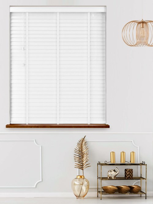 Bright White Real Wood Venetian Blind With White Tapes