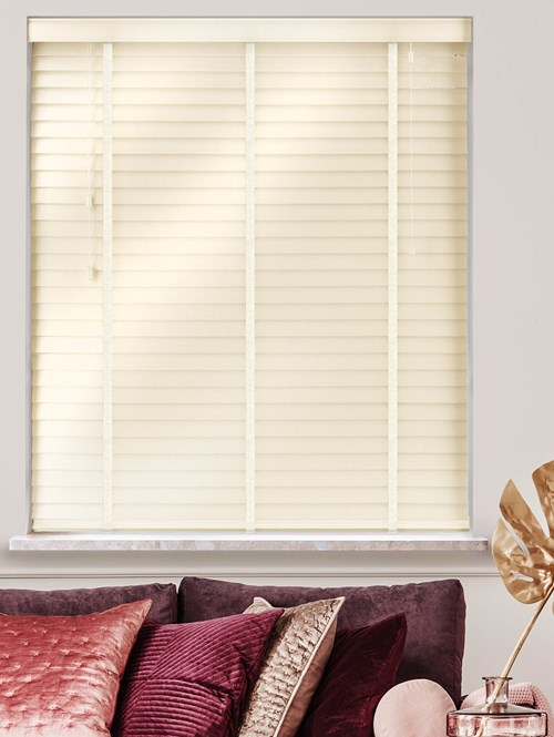 Gloss Creme Real Wood Venetian Blind With Vanilla Tapes