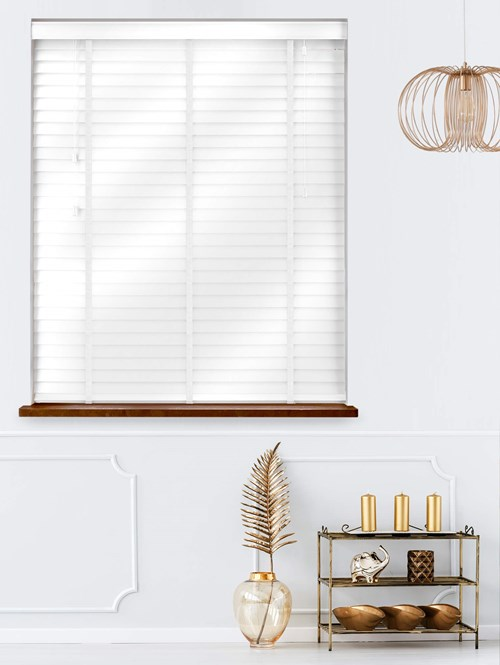 Gloss White Real Wood Venetian Blind With White Tapes