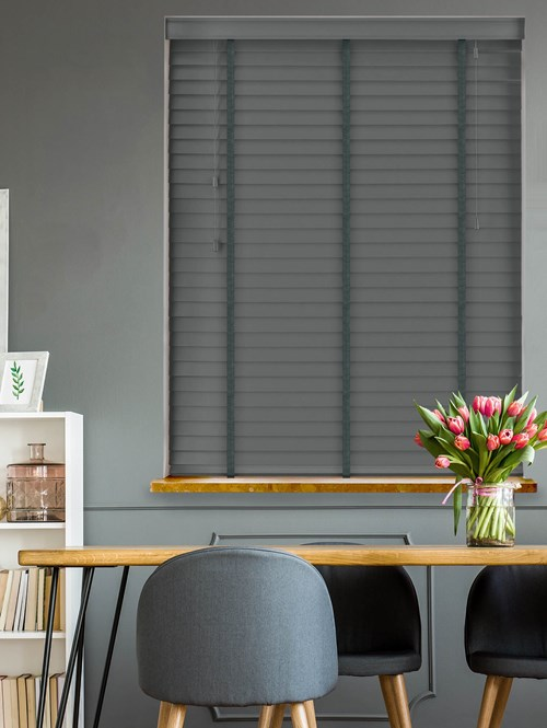 Hematite Grey Real Wood Venetian Blind With Fog Tapes