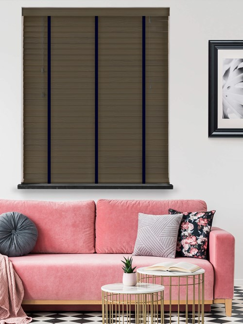 Night Haze Real Wood Venetian Blind With Jet Tapes