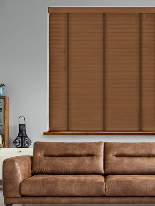 Walnut Real Wood Venetian Blind With Cocoa Tapes