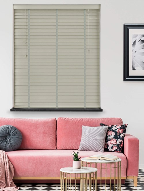Wolf Grey Real Wood Venetian Blind With Steel Tapes