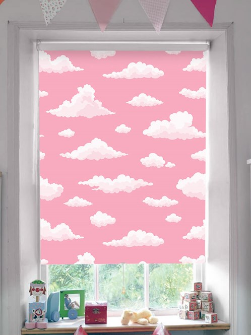 Candy Floss Clouds Blackout Cordless Spring Loaded Roller Blind