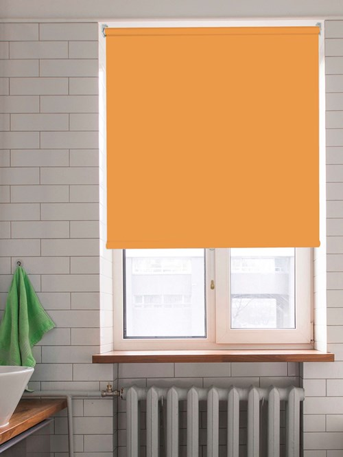 Tangerine Blackout Cordless Roller Blind Spring Loaded