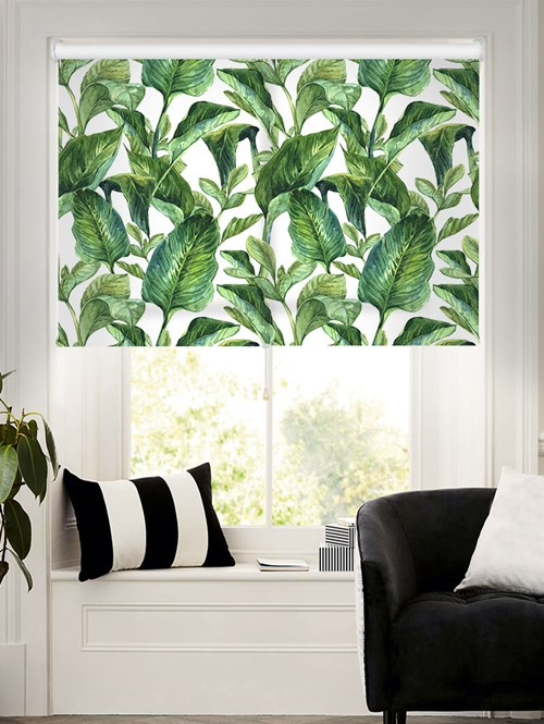 Jungle Leaves Day Daylight Cordless Spring Loaded Roller Blind