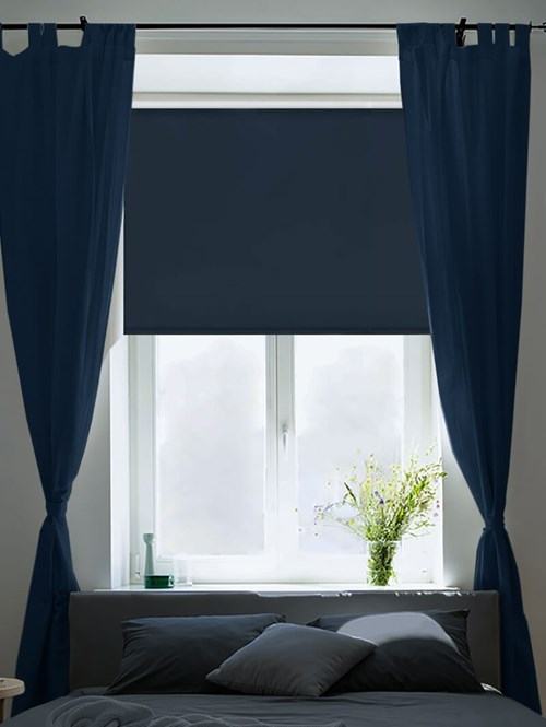 Satin Dark Denim Blackout Electric Roller Blind