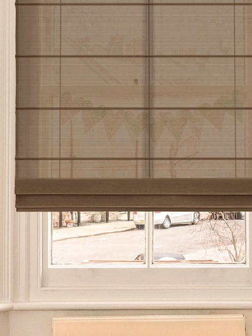 Chocolate Electric Sheer Roman Blind