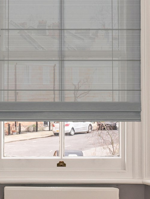 Stone Grey Electric Sheer Roman Blind