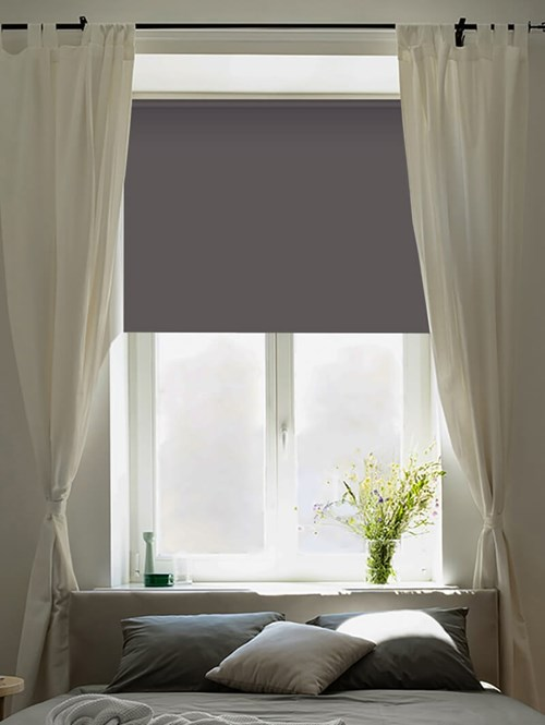 Slate Blackout Electric Roller Blind