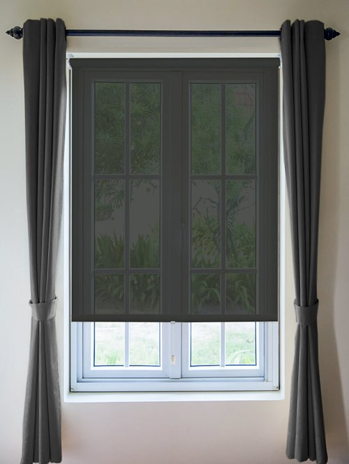Black Sheer Cordless Roller Blind Spring Loaded