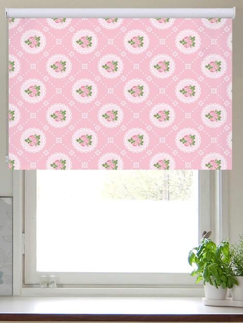 Tea Table Pink Patterned Roller Blind