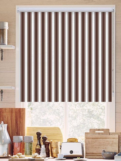 Ticking Stripe Brown Roller Blind
