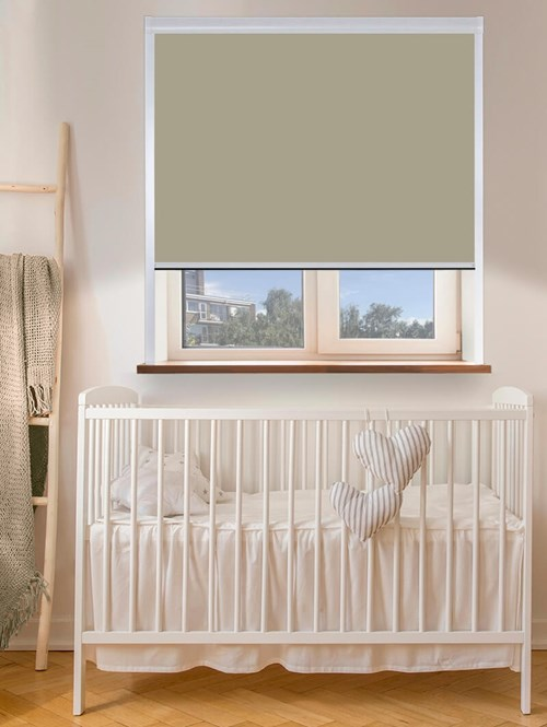 Colour Match Wood Pigeon Total Blackout Roller Blind