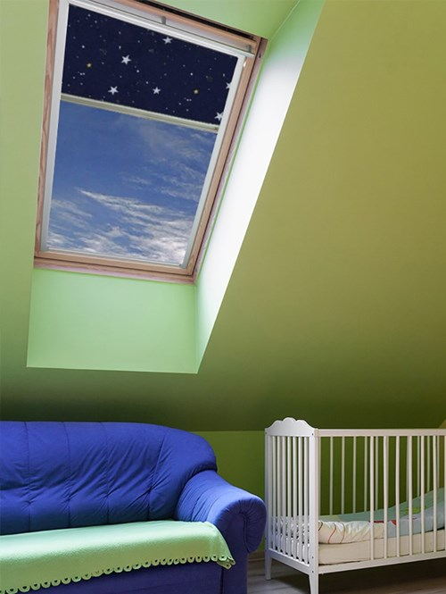 Stars Navy Thermal Plus Blackout Skylight Blind To Fit Velux Windows