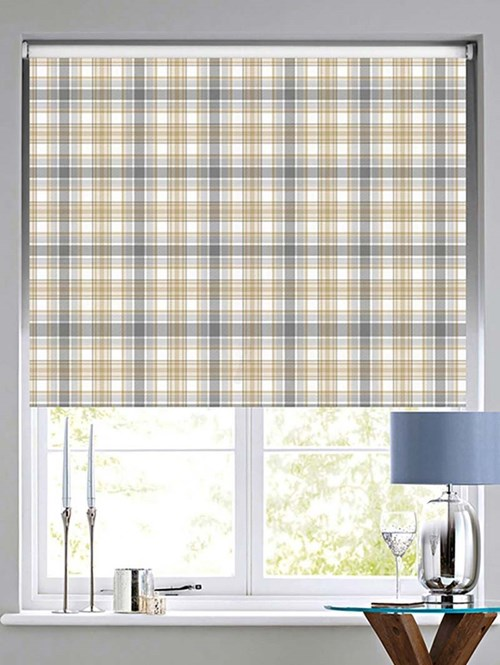 Wallace Check Patterned Daylight Electric Roller Blind