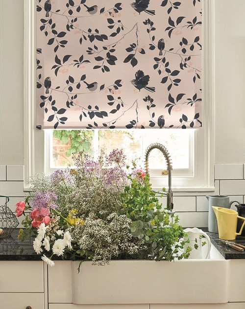 Wren and Cherry Electric Roller Blind by Lorna Syson