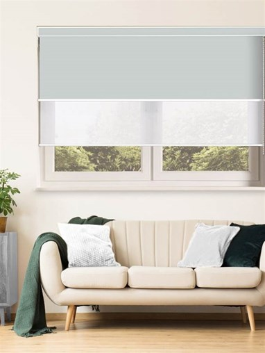 Light Grey and White Luxury Double Roller Blind