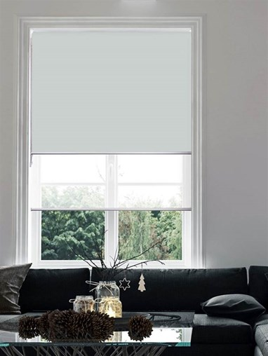 Light Grey and White Double Roller Blind