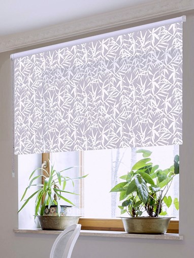 Bamboo Shadows Grey Floral Roller Blind