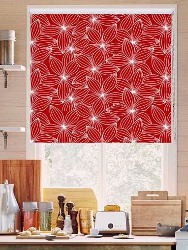 Starflower Red Floral Roller Blind