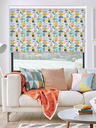 Segments Tangerine Daylight Electric Roller Blind
