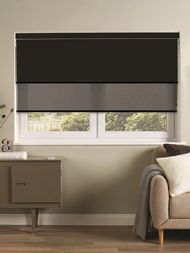 Black Electric Double Roller Blind