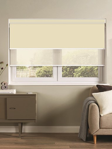 Cream Electric Double Roller Blind
