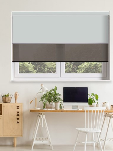 Light Grey and Black Electric Double Roller Blind
