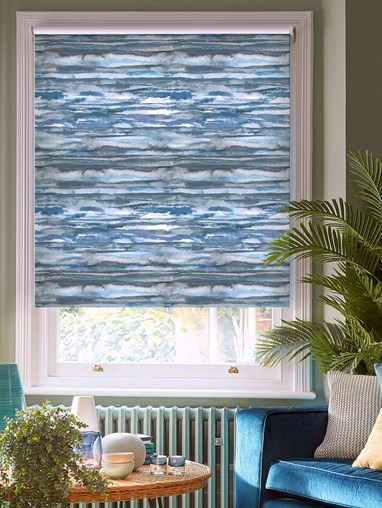 Aquarelle Stripe Denim Patterned Blackout Electric Roller Blind