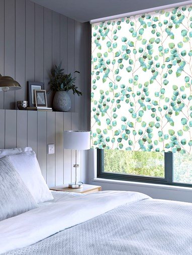 Climbers Aqua Patterned Blackout Electric Roller Blind