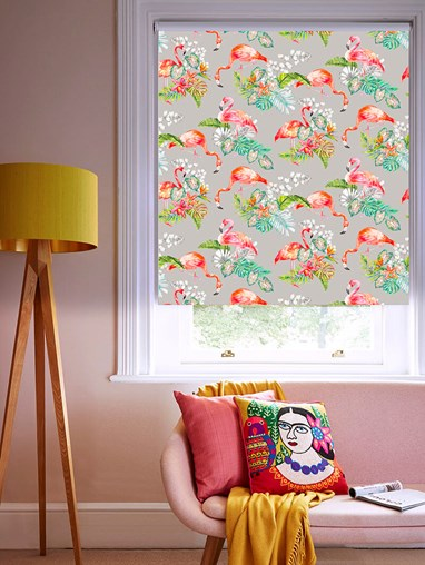 Flamingo Tropics Stone Patterned Blackout Electric Roller Blind