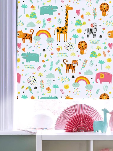 Happy Jungle Candy Patterned Blackout Electric Roller Blind