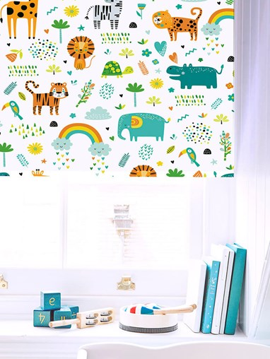 Happy Jungle Sky Patterned Blackout Electric Roller Blind